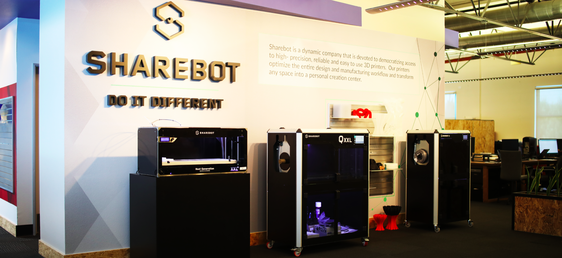 Sharebot us xponentialworks showroom ventura california professional 3d printers