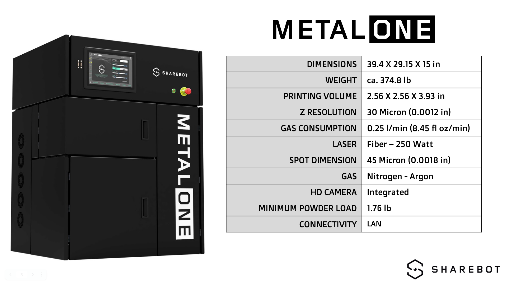 metalONE US Technical Specs